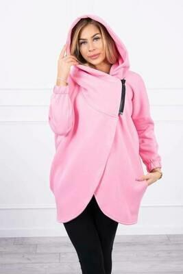 'Short Zip ' Sweatshirt Jacket, Fleece Lined in Candy Pink