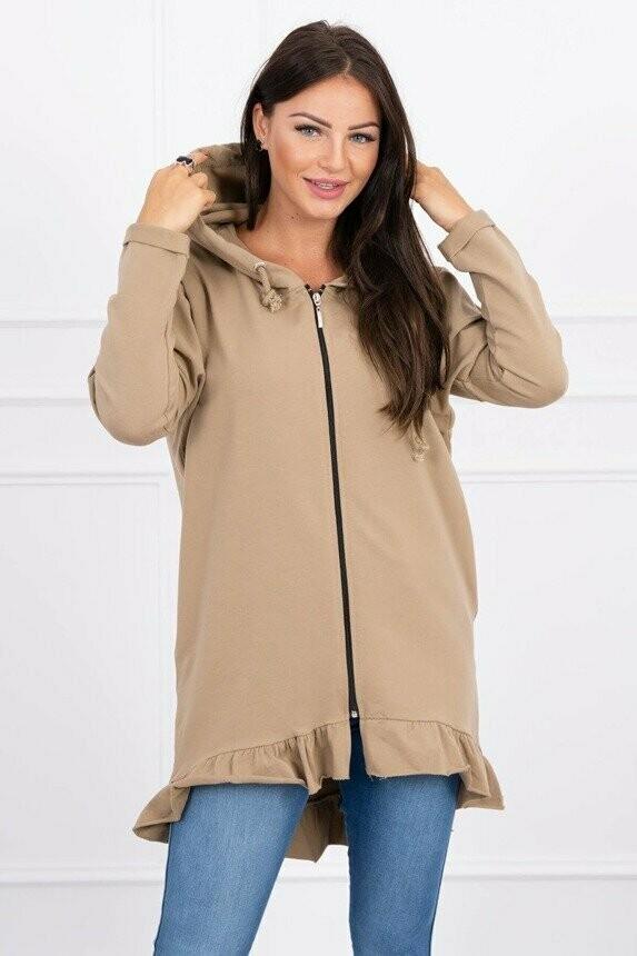 'Frill Zip Front Sweatshirt' in Camel