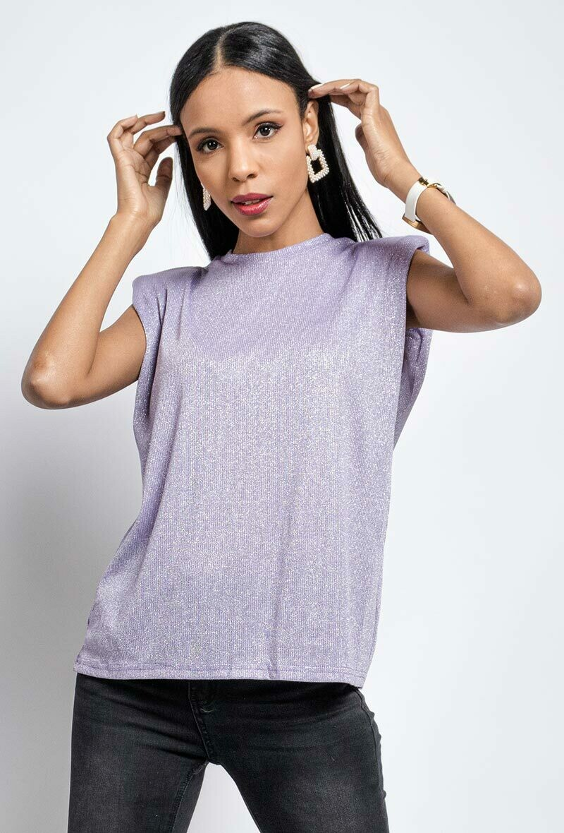 'Indescent Padded' T-shirt in Pink or Lilac