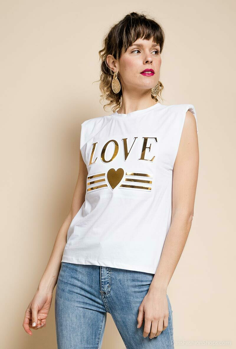 'LOVE Seal' Embossed Print Padded T-shirt in White or Black