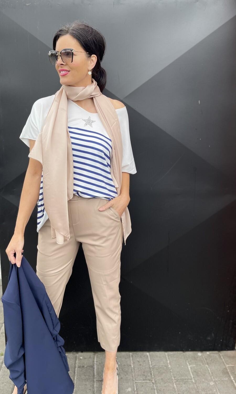 'Claudette' Navy Striped  Top