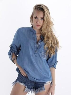 'Morada' Mandarin Collar Light Denim Shirt