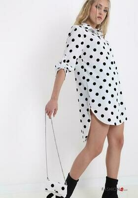 'Polka Long Shirt' in White & Black with Cross Body Bag to Match