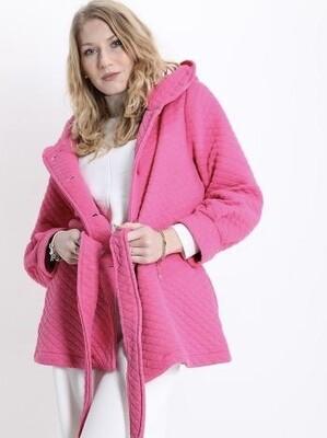 'Totally Pink' Sweatshirt Feel Coat with Tie Waist