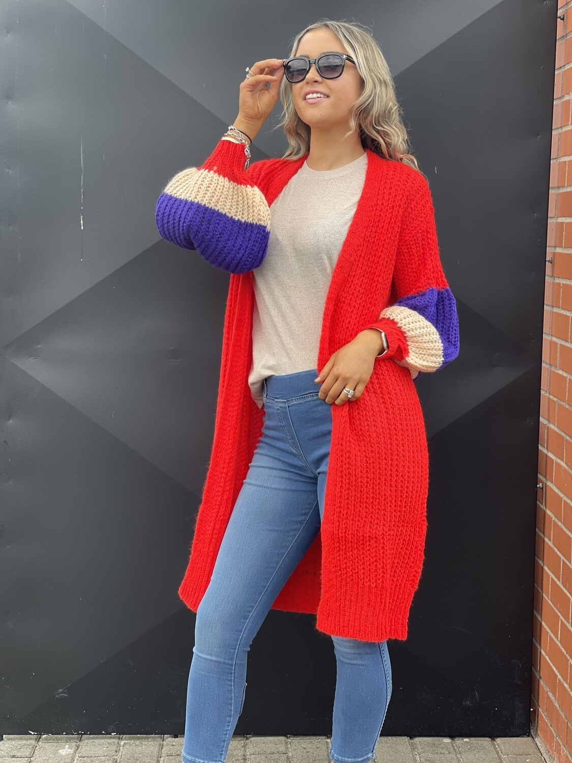 'Cosi  Callie' Vibrant Red Cardigan with Tulip Sleeve