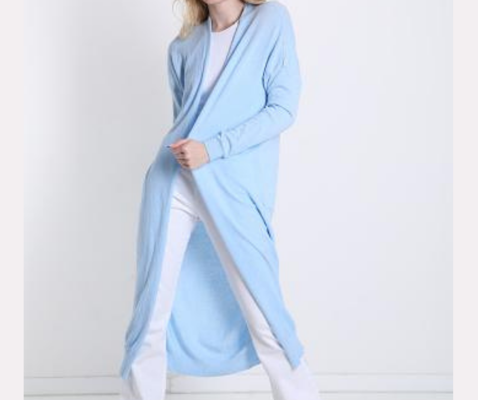 'Ice Blue' Super Soft Lightweight Long Cardigan
