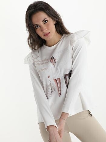 'Mia' Lace Back Decorative Sweatshirt