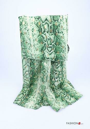 'Python' Print Long Scarf in Green