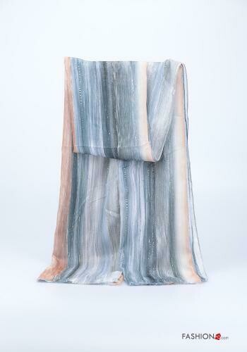 'Multi Beige & Blue Feel' Lurex Long Scarf