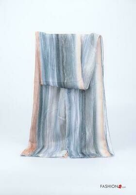'Multi Beige & Blue Feel' Lurex Long Scarf