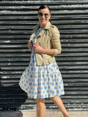 'Polka'  Dress in Cream with Blue Polka Dots