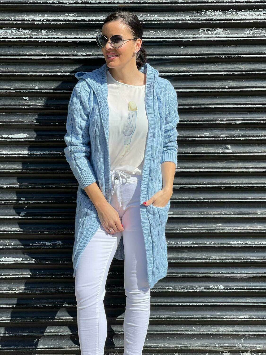 'Cable Cardigan' in Sky Blue