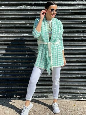 'Sense of Summer' Frill Detail Cardigan in Ocean Green & White
