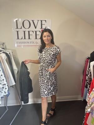 Leopard Print T-shirt Summer Dress (Tie Waist)