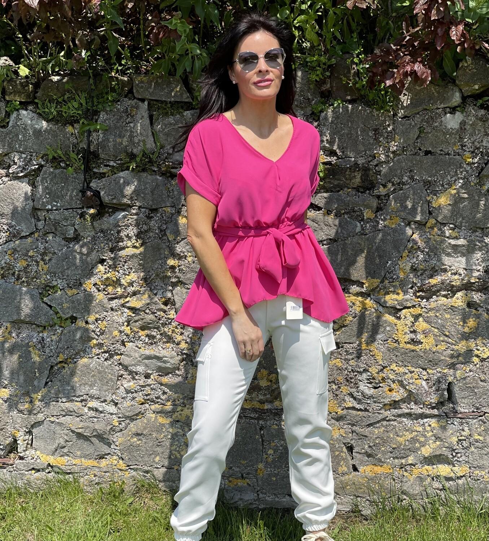 Fuscia- Pink faux wrap top