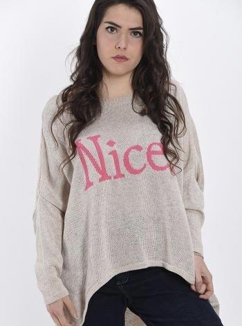 ' Nice ' script Beige knit