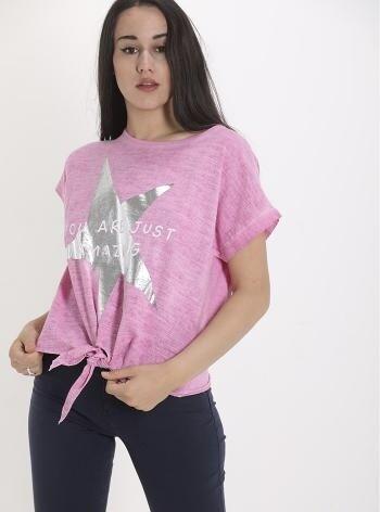 Linen effect star T-Shirt