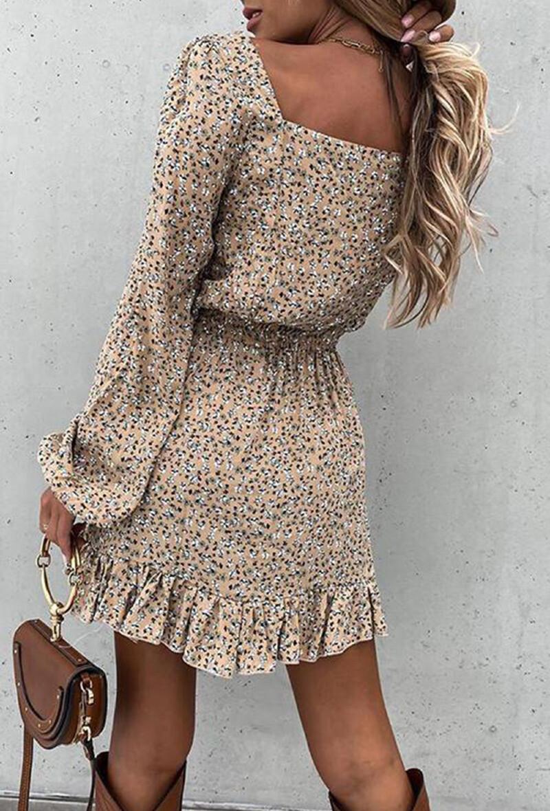 Floral beige dress