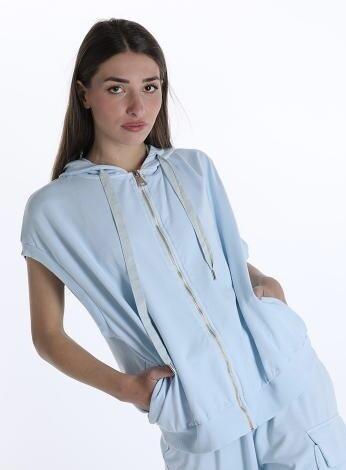 Summer powder blue sleeveless hood