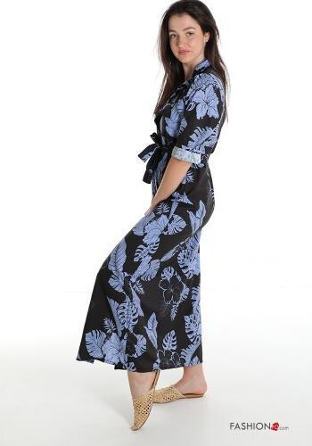 Floral print full length shirt dress