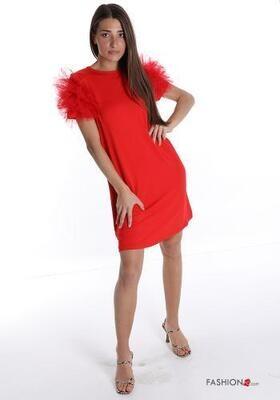 Red 'tulle shoulder' dress