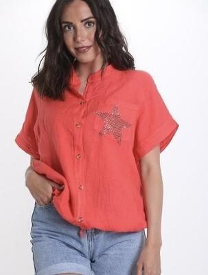 Linen star pocket shirt