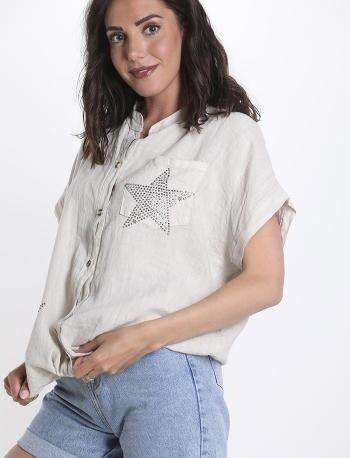 Linen star pocket detail