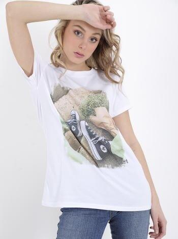 Rhinestones printed T-shirt