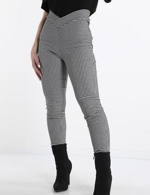 Vichy check print trousers