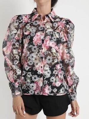 Floral puffed shoulder