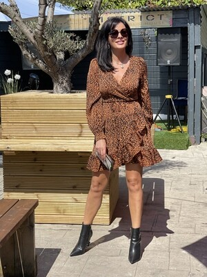 Wrap Leopard Print Dress