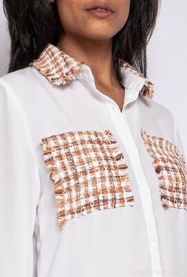 Bi-material tweed shirt