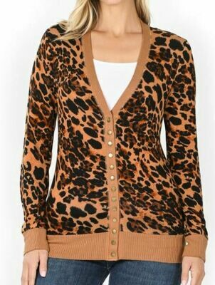 LEOPARD SNAP BUTTON CARIDGAN
