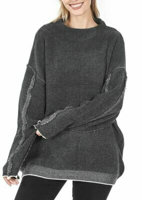CHARCOAL MOCK SWEATER
