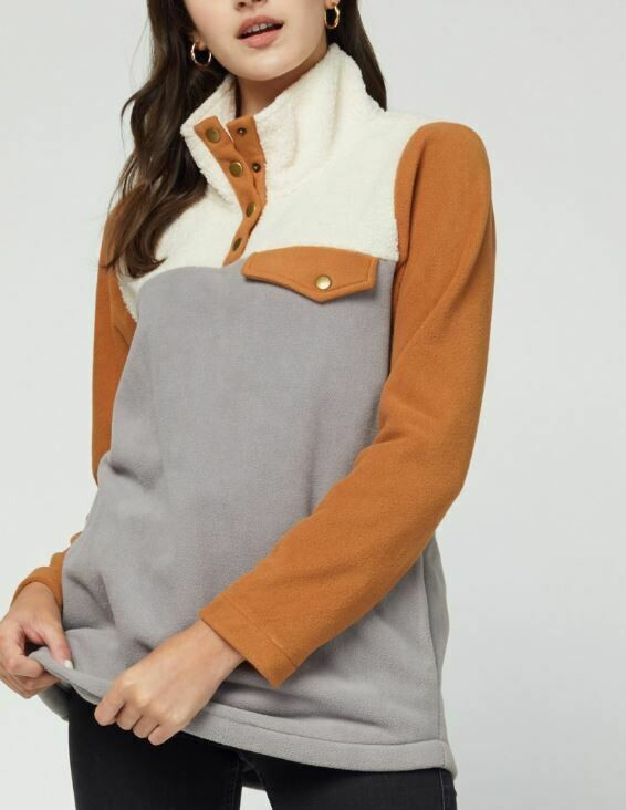 CAMEL COLORBLOCK PULLOVER