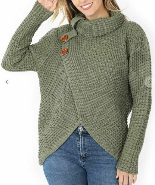 OLIVE COWL WRAP SWEATER
