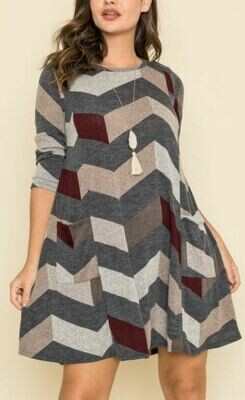 HOLIDAY CHEVRON DRESS
