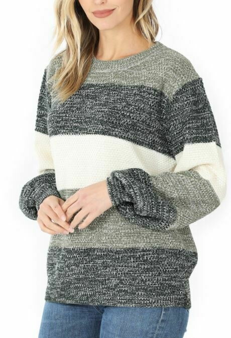 HUNTER GREEN STRIPED SWEATER