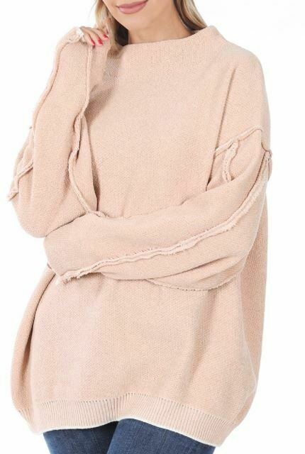 DUSTY BLUSH MOCK SWEATER