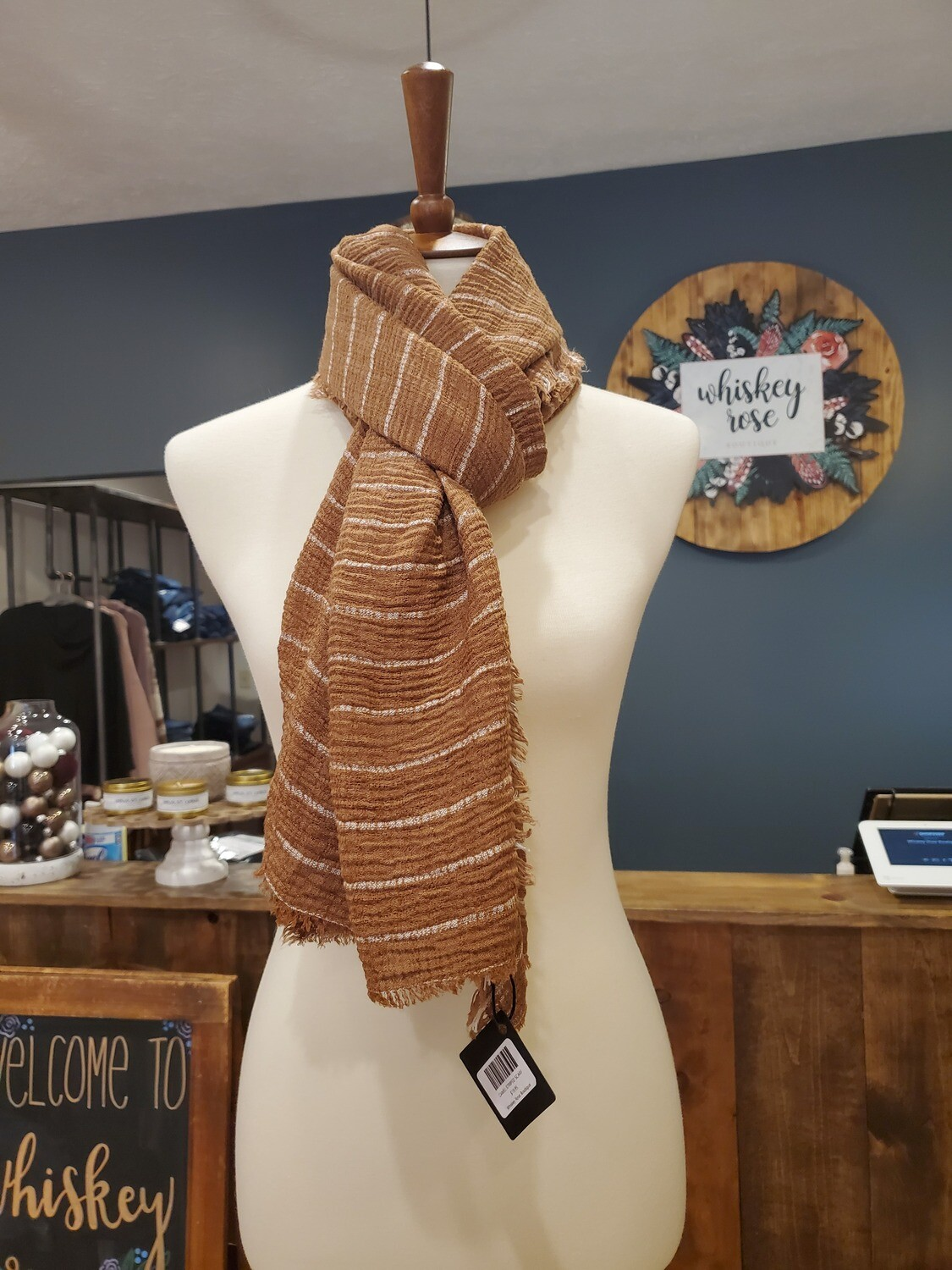 CAMEL STRIPED SCARF