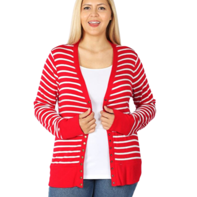 BRIGHT RED SNAP CARDI