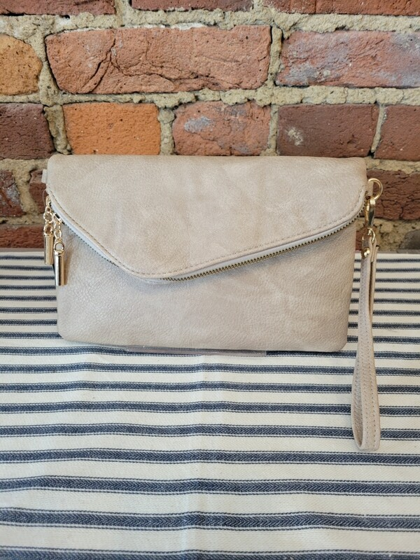 HEATHER CROSSBODY/CLUTCH (STONE)