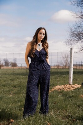 NAVY POP JUMPSUIT