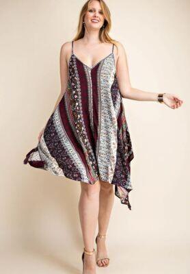 CHARCOAL BOHO PRINT DRESS