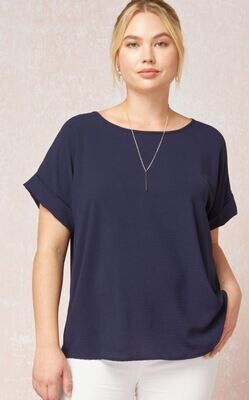 NAVY BLOUSE TOP