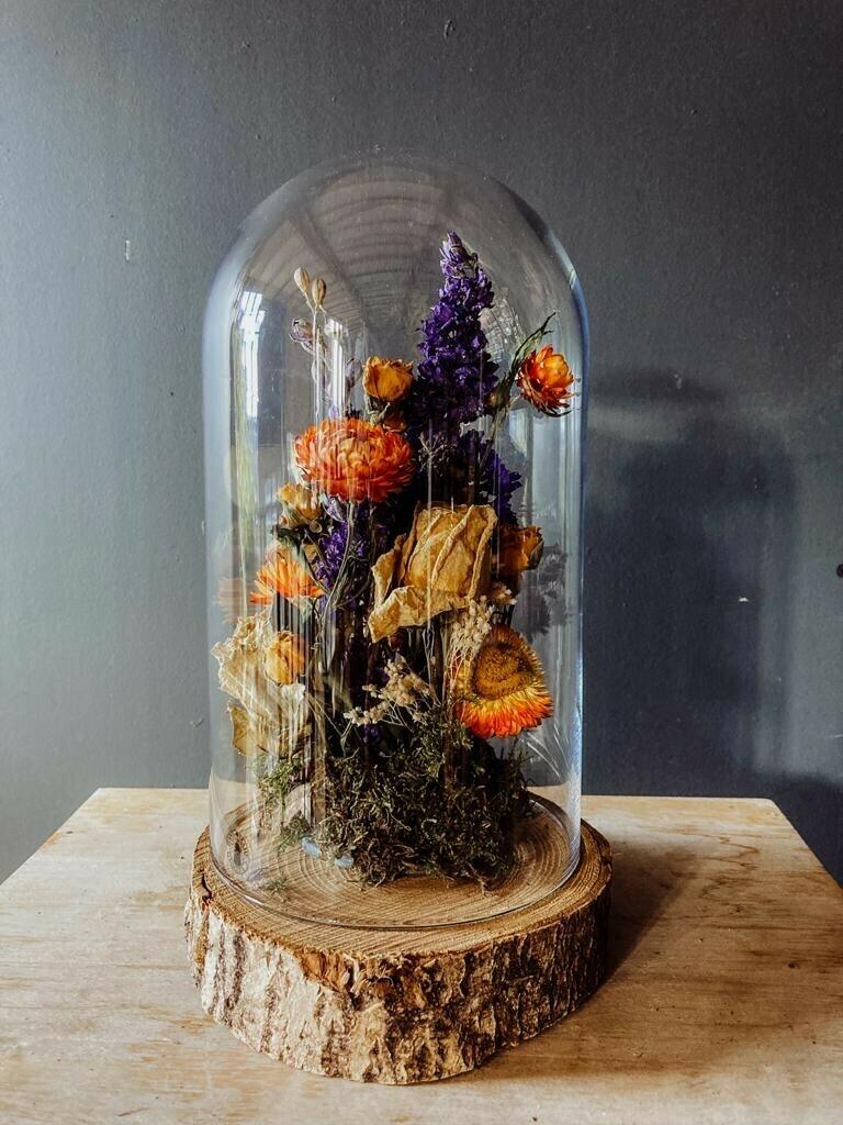 Dried Floral Arrangement in Glass Bell Jar