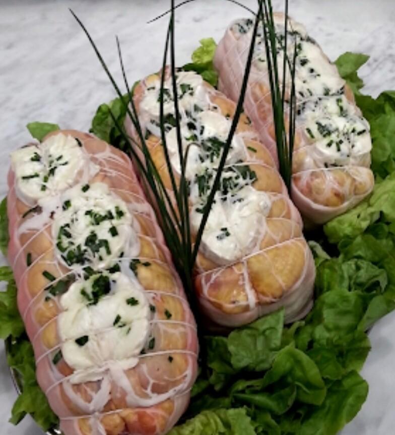 Roti de poulet chèvre ciboulette
