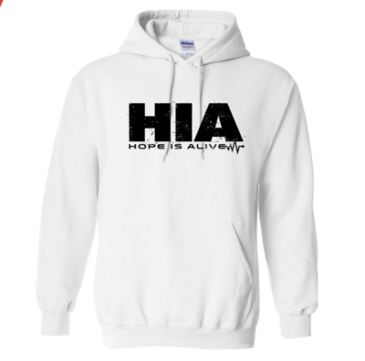 White HIA Hoodie with Black Lettering