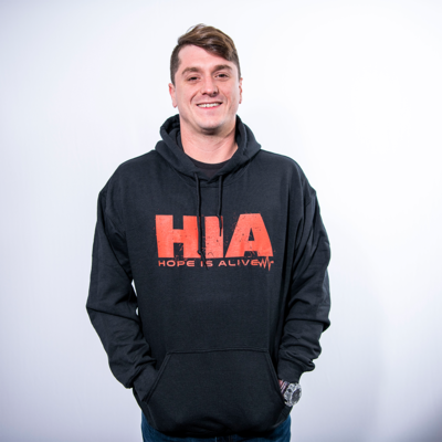 Black HIA Hoodie with Red Lettering