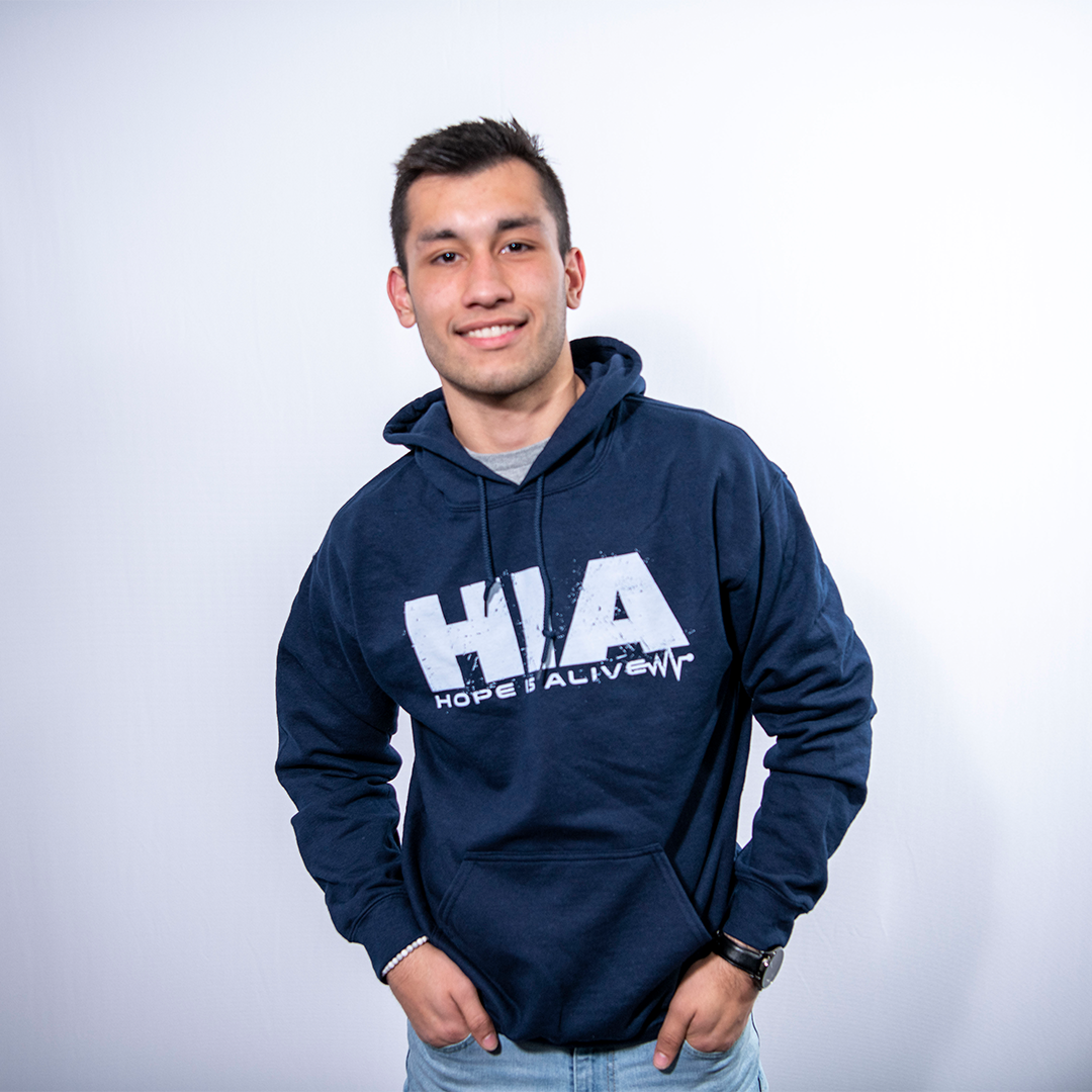 Navy HIA Hoodie with White Lettering